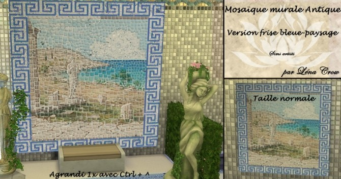 Sims 4 Ancient mosaic mural by LénaCrow at Sims Artists