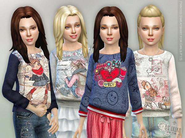 Sims 4 Printed Sweatshirt for Girls P15 by lillka at TSR