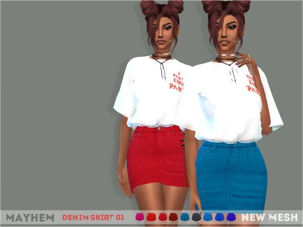 Denim Skirt 01 by mayhem sims at TSR image 5316 Sims 4 Updates