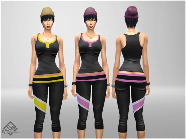 Sims 4 Gym Room Time sport outfit by Devirose at TSR
