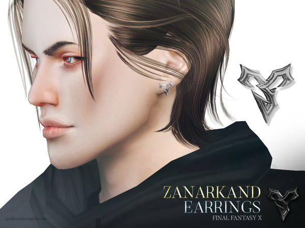 Sims 4 Zanarkand Earrings by Pralinesims at TSR