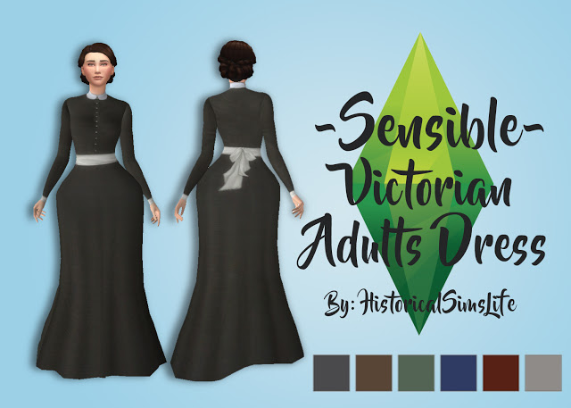 Sims 4 Sensible Victorian Dress by Anni K at Historical Sims Life
