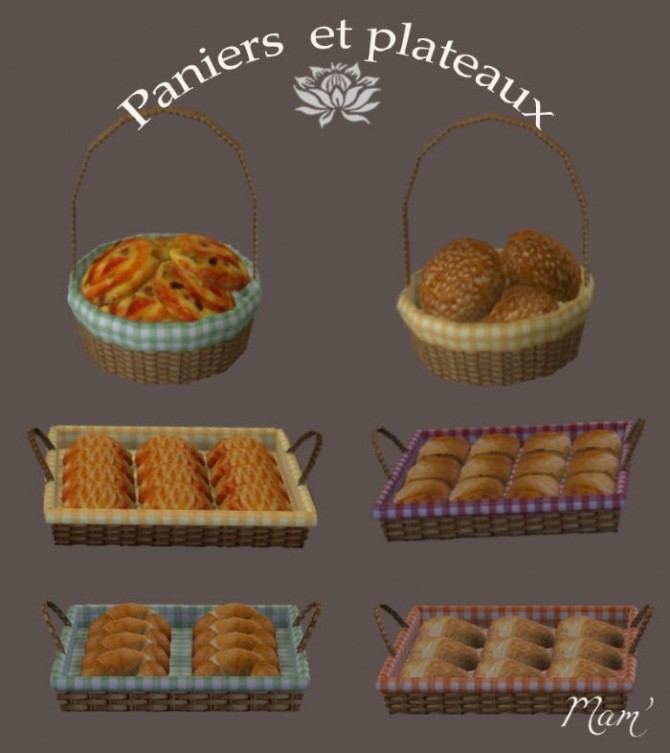 Sims 4 French breads by Maman Gateau at Sims Artists