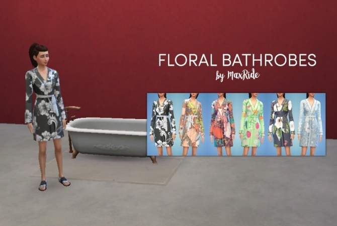 Sims 4 Floral Bathrobes by MaxRide at Mod The Sims