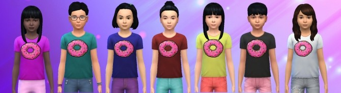 Sims 4 Kids Donut Shirt by Alfredlovessims at SimsWorkshop