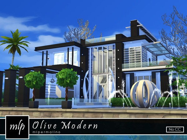 Olive Modern house by mlpermalino at TSR image 746 Sims 4 Updates