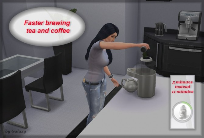 Sims 4 Faster brewing tea and coffee by Galaxy777 at Mod The Sims