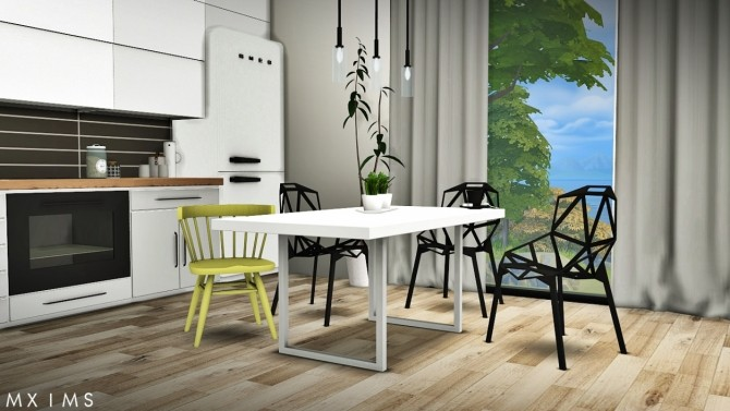 Sims 4 Gosik Skarto Dining Set, Awesims Captain Chairs & Lisen Retro 50's Dining Set at MXIMS