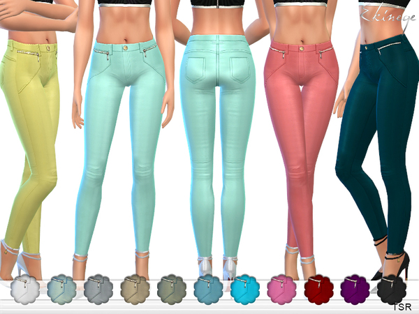 Stretch Skinny Pants With Zips by ekinege at TSR image 85 Sims 4 Updates