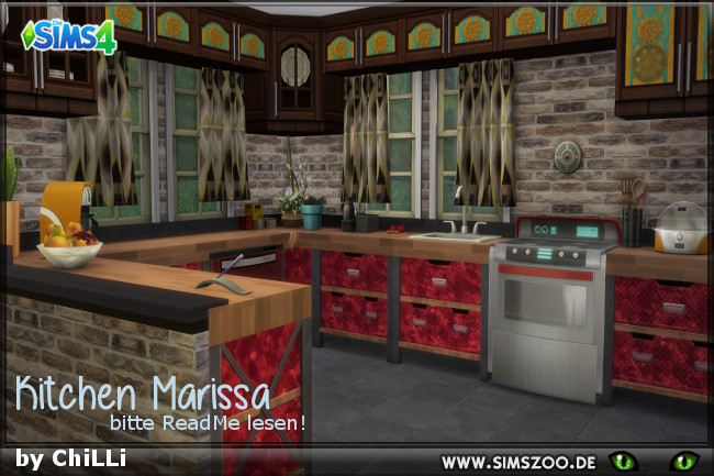 Sims 4 Marissa Kitchen by ChiLLi at Blacky's Sims Zoo