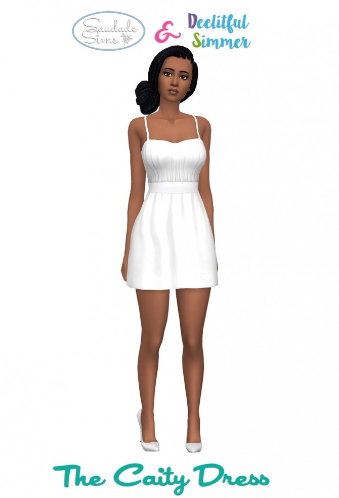 Sims 4 The Caity Dress by deelitefulsimmer at SimsWorkshop