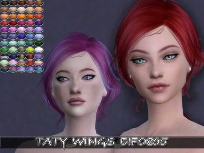 Sims 4 Wings EIFO805 hair retexture for females by Taty at SimsWorkshop