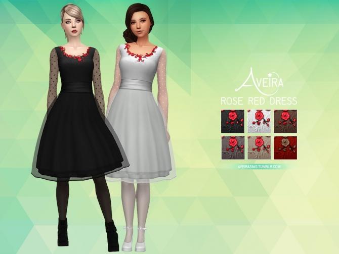 Rose Red Dress At Aveira Sims 4 187 Sims 4 Updates