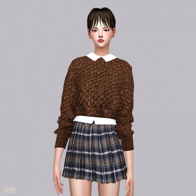 Crop Knit Sweater With Shirts at Marigold image 1075 670x670 Sims 4 Updates