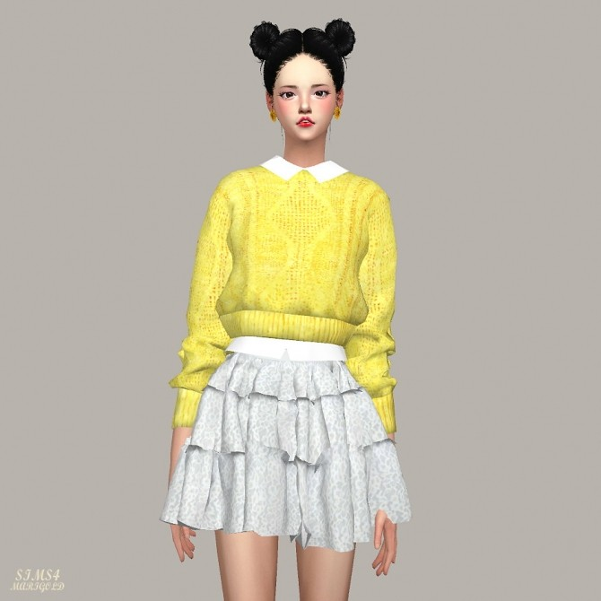 Crop Knit Sweater With Shirts at Marigold image 1085 670x670 Sims 4 Updates