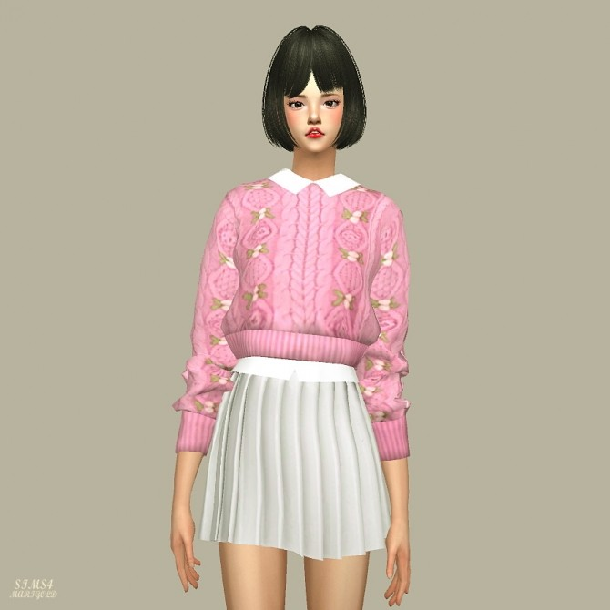 Crop Knit Sweater With Shirts at Marigold image 1095 670x670 Sims 4 Updates