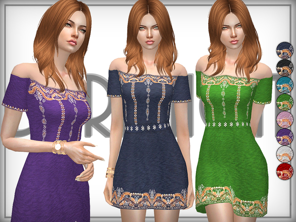 Sims 4 Off Shoulder Embroidered Cotton Dress by DarkNighTt at TSR