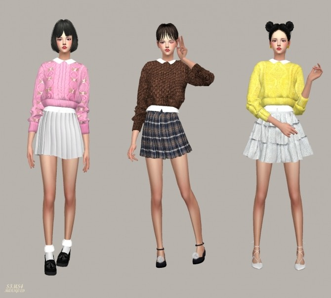 Crop Knit Sweater With Shirts at Marigold image 11110 670x602 Sims 4 Updates