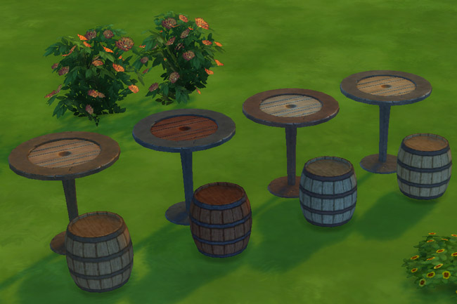 Sims 4 Barrel dinette by Mammut at Blacky's Sims Zoo