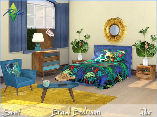 Brazil bedroom by Pilar at TSR image 12 Sims 4 Updates