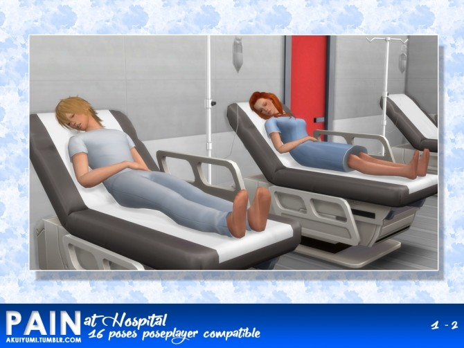 PAIN HOSPITAL 16 POSES by Akuiyumi at SimsWorkshop image 1225 670x503 Sims 4 Updates