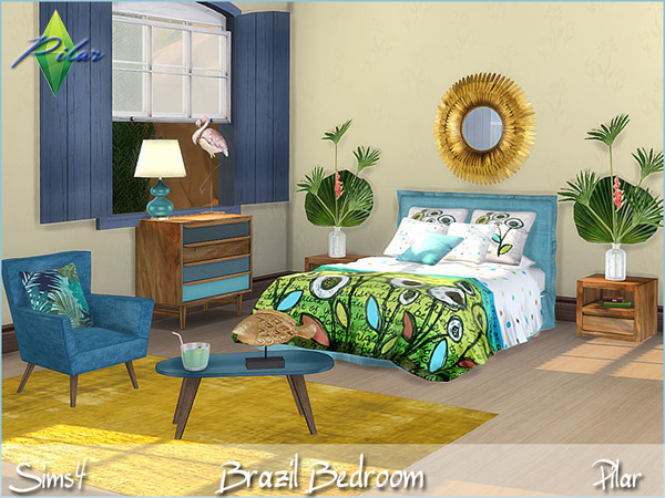 Brazil bedroom by Pilar at TSR image 13 Sims 4 Updates