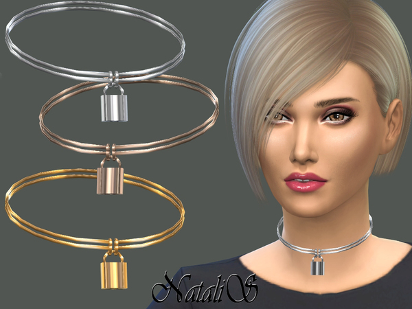 Lock Pendant Choker by NataliS at TSR image 1318 Sims 4 Updates