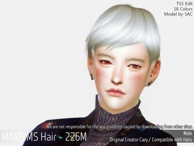 Hair 226M (Cazy) at May Sims image 1356 670x503 Sims 4 Updates