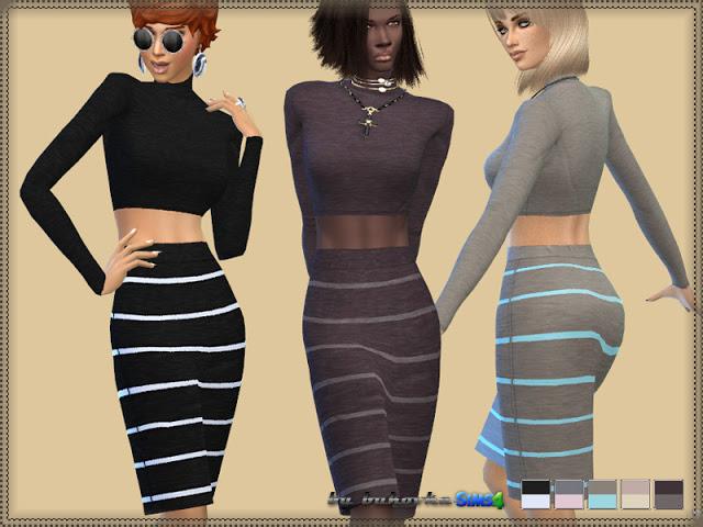 Sims 4 Jersey Stripe Dress at Bukovka