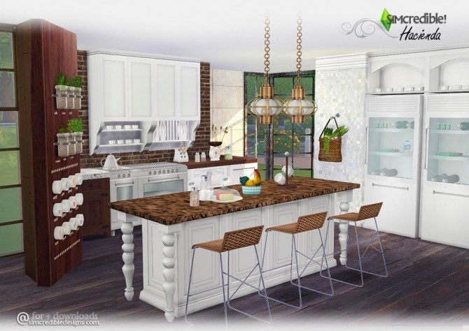 hacienda kitchen at simcredible designs 4 sims 4 updates. Black Bedroom Furniture Sets. Home Design Ideas