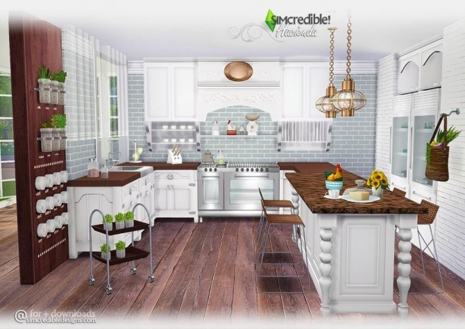 Hacienda kitchen at simcredible designs 4 sims 4 updates for Kitchen ideas sims 4