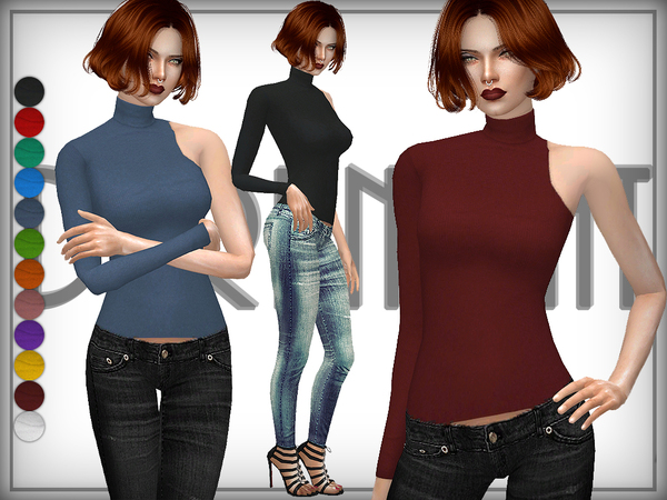 One Shoulder Turtleneck Sweater by DarkNighTt at TSR image 143 Sims 4 Updates