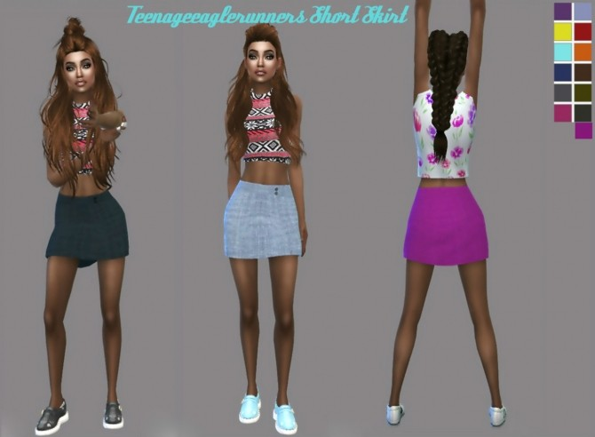 Sims 4 Short Skirt One at Teenageeaglerunner