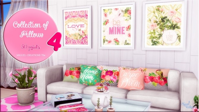 Sims 4 Collection of Pillows 4 at Victor Miguel