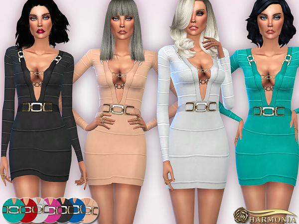 Sims 4 Metal Inserts Bandage Dress by Harmonia at TSR