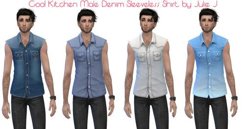 Male Cool Kitchen Denim Sleeveless Shirt at Julietoon – Julie J image 1578 Sims 4 Updates