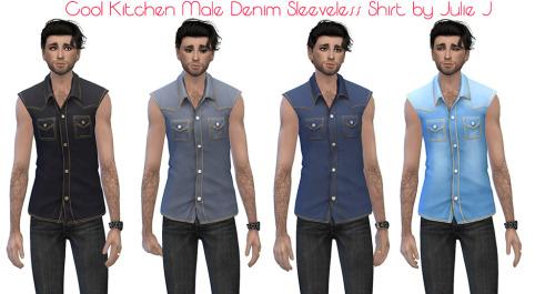 Male Cool Kitchen Denim Sleeveless Shirt at Julietoon – Julie J image 1587 Sims 4 Updates