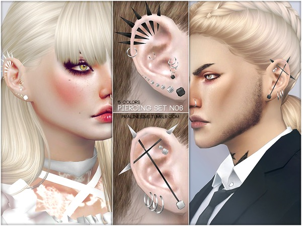 Sims 4 Piercing Set N06 by Pralinesims at TSR