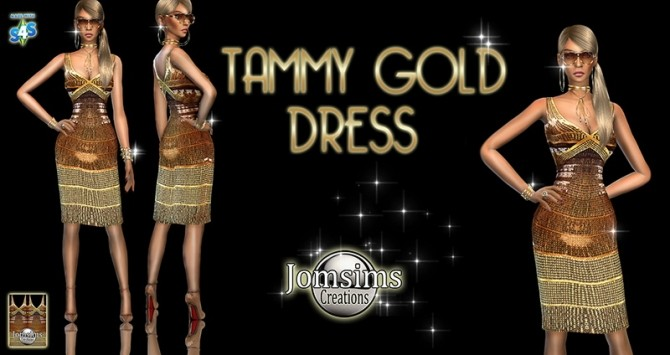 Sims 4 Tammy Gold Dress at Jomsims Creations