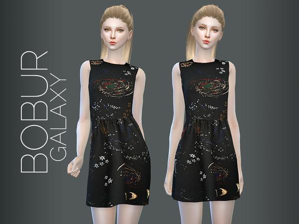 Sims 4 Bobur galaxy dress by Bobur3 at TSR