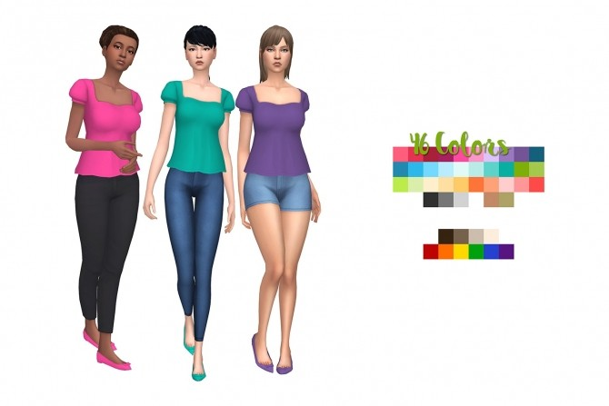 Sims 4 46 Colors of Aveiras Celebration Top by deelitefulsimmer at SimsWorkshop