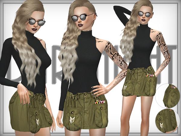 Sims 4 Cotton Military Inspired Skirt by DarkNighTt at TSR