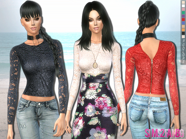 Sims 4 220 Floral lace top by sims2fanbg at TSR