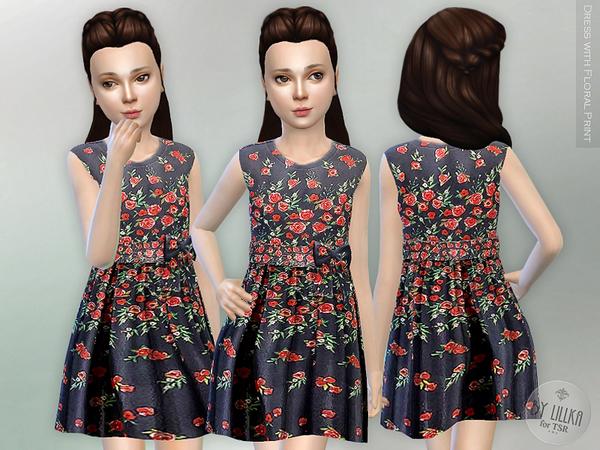 floral print dress by lillka at tsr sims 4 updates. Black Bedroom Furniture Sets. Home Design Ideas