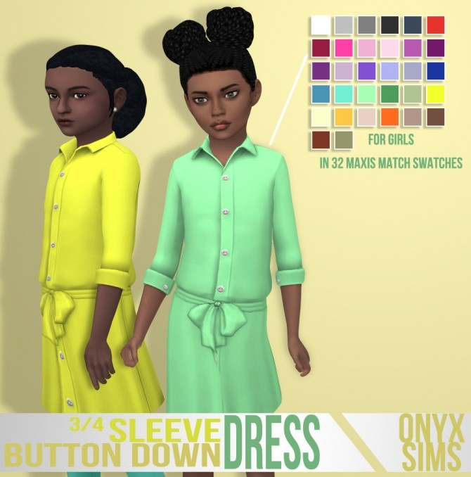 3/4 Sleeve Button Down Dress by Kiara Rawks at Onyx Sims image 2027 670x678 Sims 4 Updates