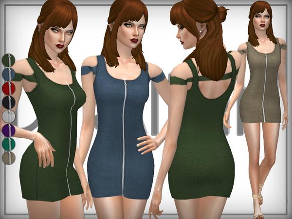 Sims 4 Zip Fronf Bardot Dress by DarkNighTt at TSR