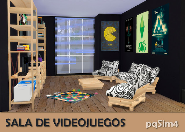 Sims 4 Video games room by Mary Jiménez at pqSims4