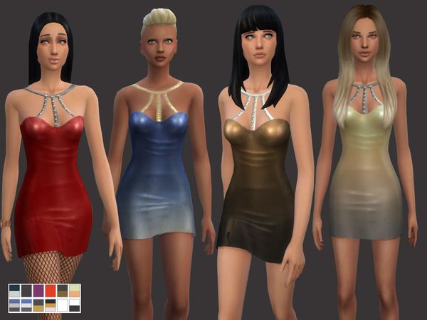 Sims 4 Little Shiny Dress by Weeky at TSR