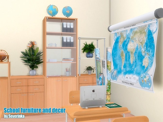 School furniture and decor set 02 at Sims by Severinka image 213 670x503 Sims 4 Updates