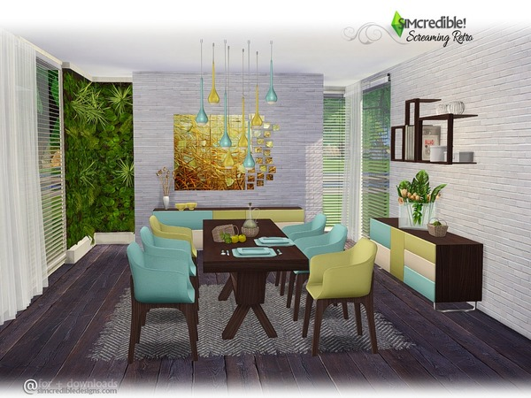 Screaming retro diningroom by simcredible at tsr sims 4 for Dining room ideas sims 4